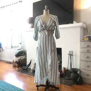 Reformation Blue/White Stripe Linen Dress, Size M